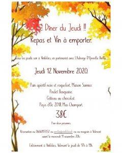 Repas du jeudi 12 novembre